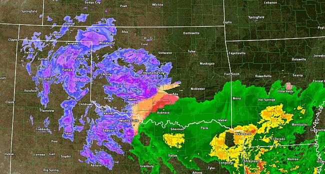 Radar - hranice sněžení