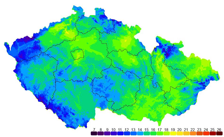 Teplotní mapa ČR