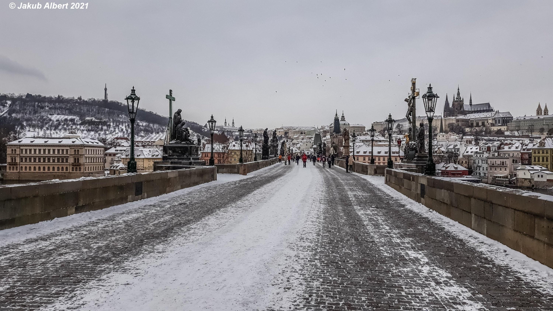 Sníh v centru Prahy